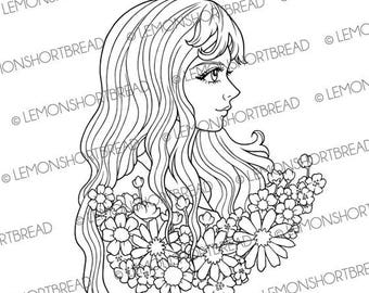 Digital Stamp Romantic Blooms Flowers Girl, Digi Download, Summer Floral, Fantasy, Coloring Page, Clip art, Scrapbooking Supplies
