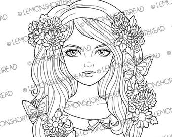 Digital Stamp Butterfly Flower Girl, Digi Download, Summer Floral, Retro Style 60s, Coloring Page, Clip art, Scrapbooking Supplies