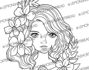 Digital Stamp Orchid Lady, Digi Download, Coloring Page, Flower Girl, Floral Head, Scrapbooking Supplies, Summer