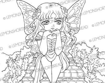Digital Stamp Fairy Ponder, Digi Fantasy Printable Coloring Page, Garden Spring Summer, Anime Art