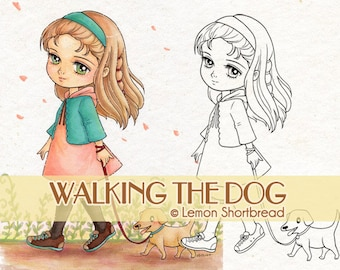 Digital Stamp Girl Walking Dog, Puppy Digi Download, Coloring Page, Animals Pets, Autumn, Anime Children Clip Art, Scrapbooking