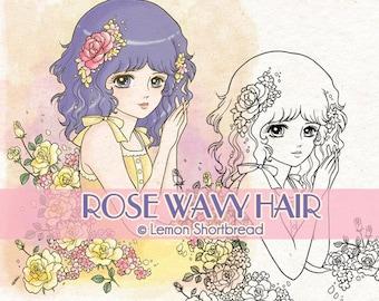 Digital Stamp Roses Girl, Digi Download, Summer Flowers, Floral Clip Art, Garden, Coloring Page, Scrapbooking Supplies
