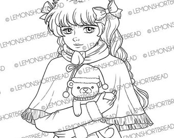 Digital Stamp Winter Teddy Bear, Digi Printable Coloring Page, Christmas Winter, Autumn Fall, Scrapbooking Card, Instant download