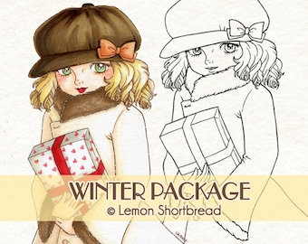 Digital Stamp Winter Package Gift, Digi Download, Christmas Present Girl, Fashion, Coloring Page, Clip Art, Scrapbooking Supplies