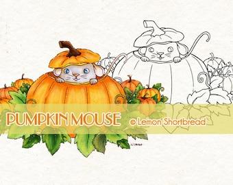 Digital Stamp Pumpkin Mouse, Halloween Autumn Fall, Digi Download, Animal, Jack O' Lantern, Coloring Page, Clip Art, Scrapbooking Supplies
