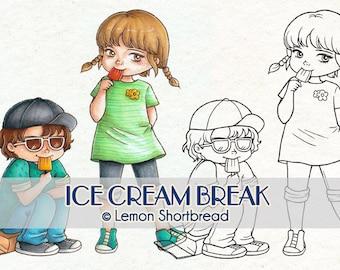 Digital Stamps Ice Cream Break, Digi Download, Boy Girl Spring Summer, Kids Children, Clip Art Scrapbooking Supplies