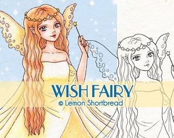 Digital Stamp Wish Fairy, Digi Download, Fantasy Star Girl, Angel Elf, Make a Wish, Clip Art, Coloring Page, Scrapbooking Supplies