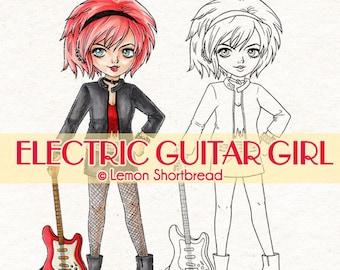 Digital Stamp Electric Guitar Girl, Digi Download, Rock Star Band, Punk Fashion, Music, Coloring Page, Scrapbooking Supplies, Clip Art