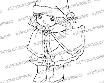 Digital Stamp Winter Wonderland Girl, Digi Download, Snowflake, Merry Christmas, Coloring Page, Clip Art Card Scrapbooking Supplies