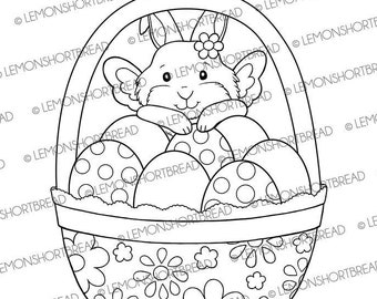 Easter Bunny Fairy Digital Stamp, Digi Coloring Page Download, Cute Rabbit, Crafting Clip Art Graphic, Children's Craft