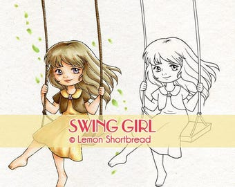 Digital Stamp Girl on Swing, Digi Download, Spring Summer, Well Wishes, Garden Children's, Clip Art, Coloring Page, Scrapbooking Supplies