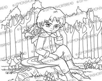 Digital Stamp Tree Trunk Seat, Digi Printable Coloring Page, Fantasy Male Elf, Mushroom Forest Autumn Fall Harvesting, Instant download
