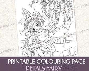 Digital Coloring Page Petals Fairy, Printable Anime Style Fantasy Colouring