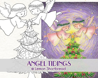 Digital Stamp Angel Tidings, Digi Printable Colouring Page, Merry Christmas Tree, Scrapbooking Craft, Image Download