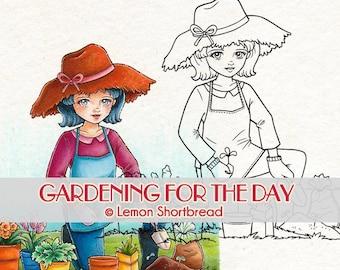 Digital Stamp Gardening Lady Plants, Digi Coloring Page Download, Spring Summer Garden, Floral Flowers Scrapbooking