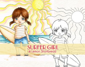 Digital Stamp Surfer Girl, Digi Download, Beach Summer Sports, Surfing Children's, Clip Art, Coloring Page, Scrapbooking Supplies