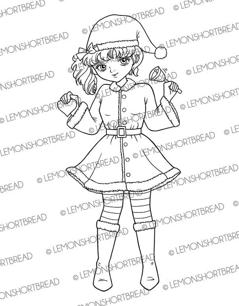 Digital Stamp Christmas Jingle Bells Girl Digi Stamps Santa image 0
