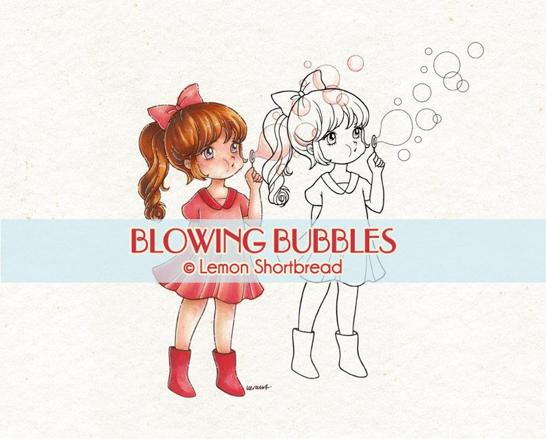 Digital Stamp Blowing Bubbles Girl Digi Download Children image 0