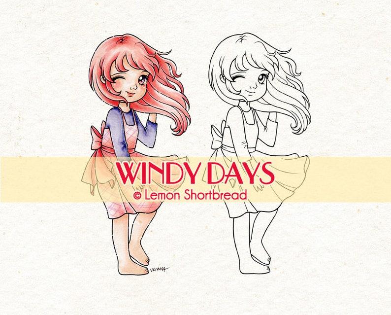 Digital Stamp Windy Days Girl Digi Download Spring Summer image 0