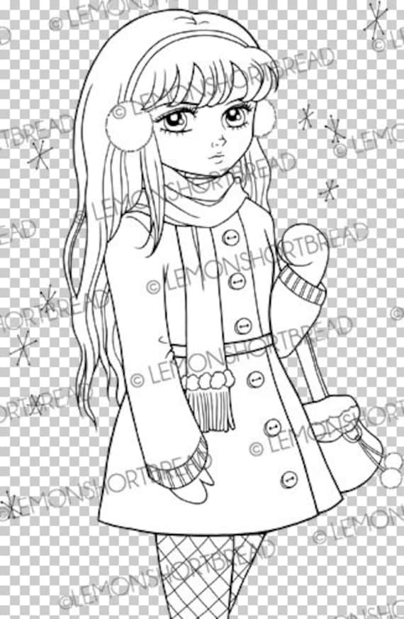 Digital Stamp Winter Girl Shopping Digi Download Ear Muff Fashion Snow Scrapbooking Supplies Card Making Coloring Page Clip Art
