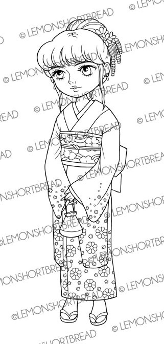 Digitalen Stempel Kimono japanerin Digi Download Frühling | Etsy