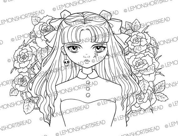 Digital Stamp Pirate Girl Roses Digi Download Flower Goth