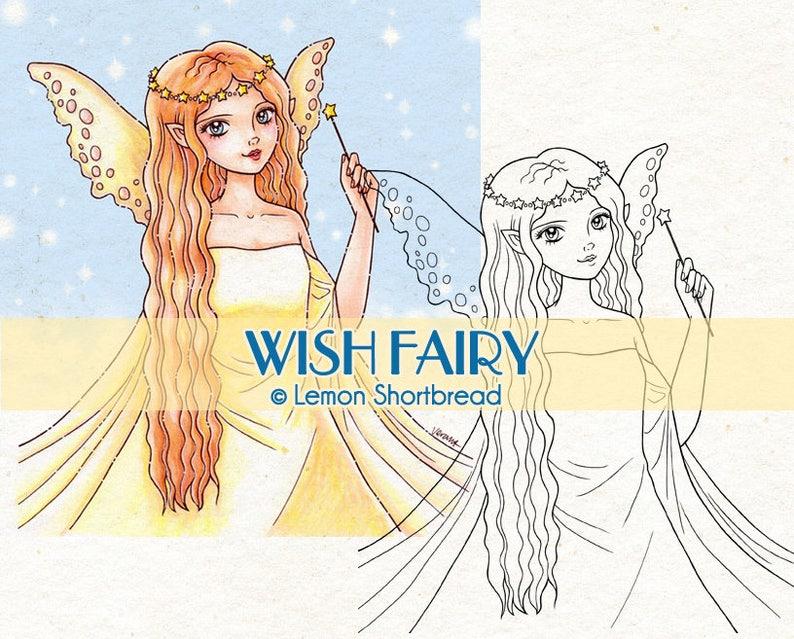 Digital Stamp Wish Fairy Digi Fantasy Star Girl Angel Make a image 0