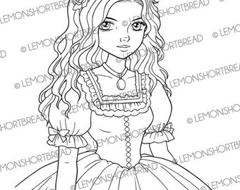 Digital Stamp Belle Girl, Digi Download, Southern Victorian Style, Big Eyed, Thinking of You, Clip Art, Coloring Page, Scrapbooking Supplies