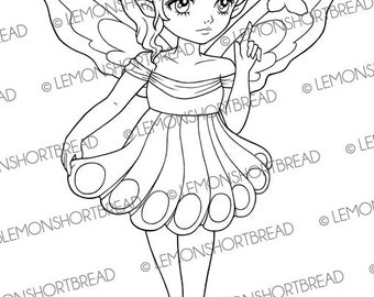 Digital Stamp Butterfly Point Fairy, Digi Download Fantasy, Flower Spring Summer, Clip art, Coloring Page, Scrapbooking Supplies