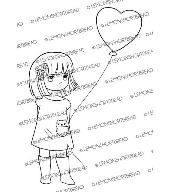 Digitalen Stempel Herz Ballon Mädchen Digi Download ich | Etsy