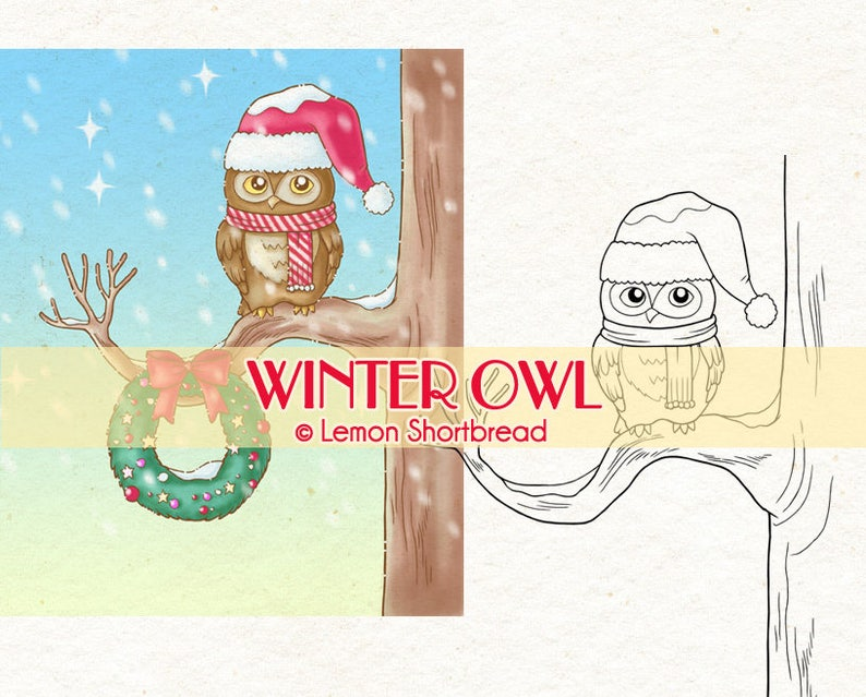 Digital Stamp Winter Owl Christmas Wreath Digi Download image 0