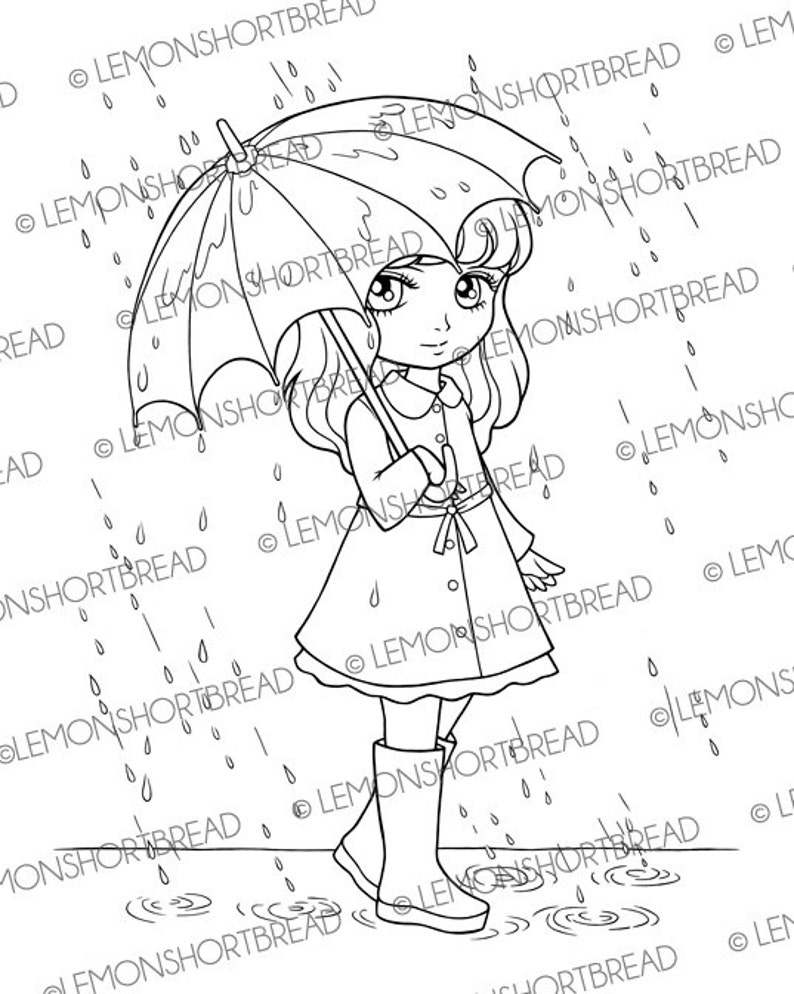 Digital Stamp Rainy Days Girl With Umbrella Digi Download Spring Summer Raincoat Clip Art Coloring Page Scrapbooking