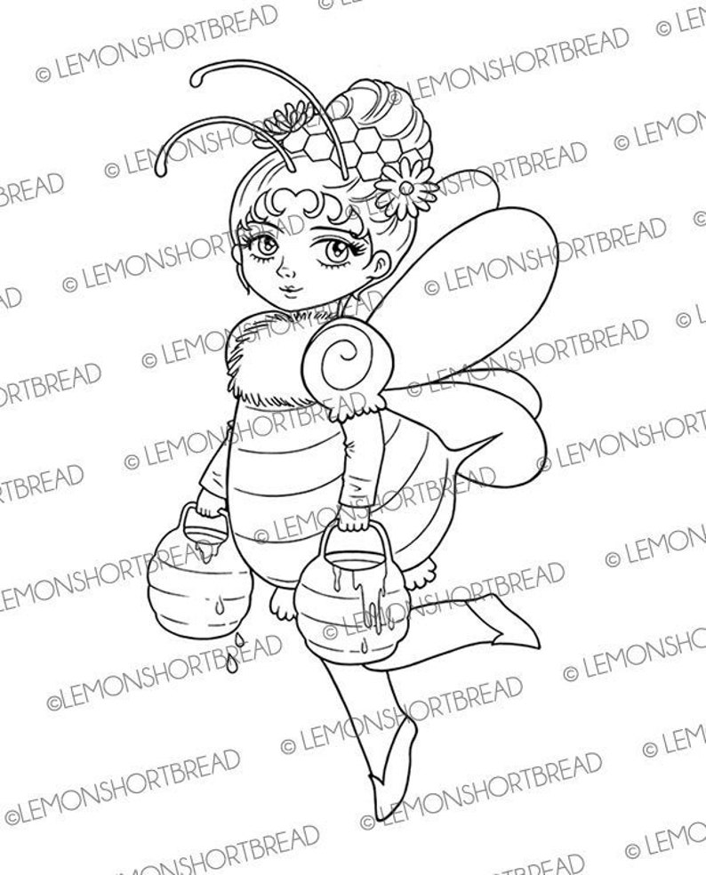 Digital Stamp / Coloring Page Bee Lady Digi Fantasy Garden image 0