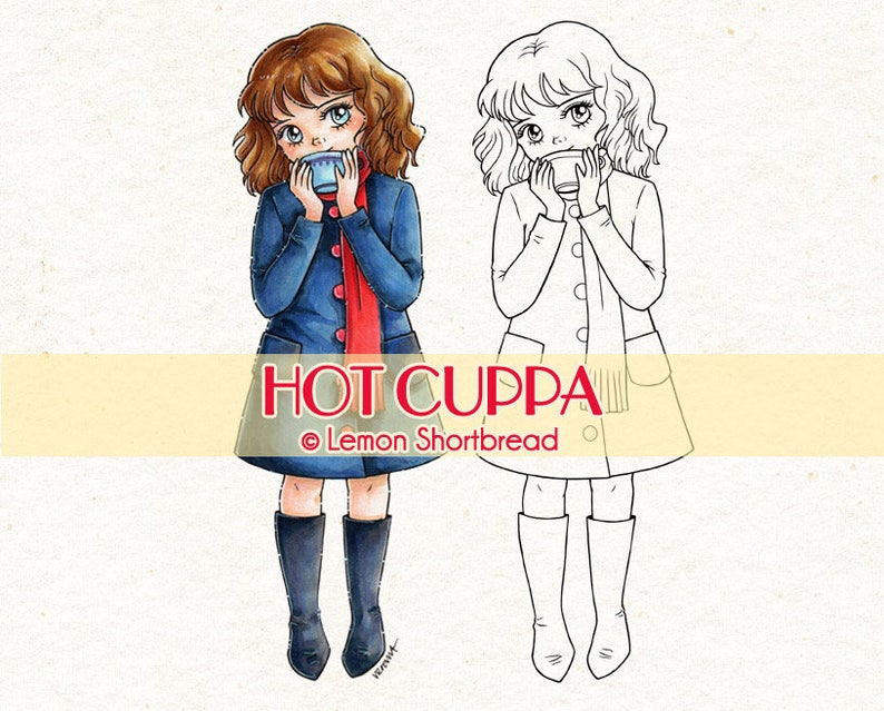 Digital Stamp Hot Cuppa Girl Digi Download Coffee Cocoa image 0