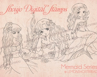 Digital Stamps Mermaids Set, Digi Download, Coloring Pages, Fantasy Girl, Fairytales Anime, Clip Art, Scrapbooking Supplies