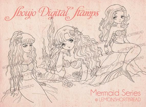 Digitale Briefmarken Meerjungfrauen Set Digi Download Etsy
