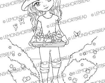Digital Stamp Gardening Girl, Digi Printable Colouring Page, Summer Garden Floral Flowers, Anime, Instant Download