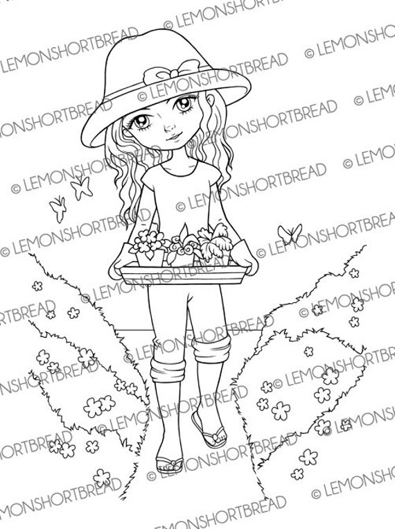 Digital stamp gardening girl digi download coloring page for Selling coloring pages on etsy