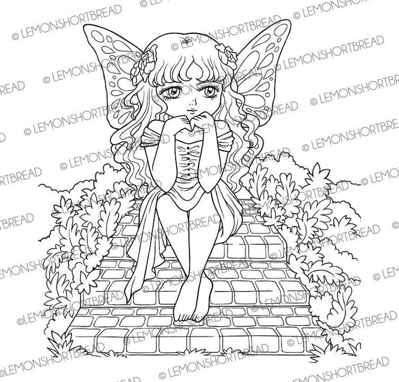 Digital Stamp Fairy Ponder Digi Fantasy Printable Coloring image 0