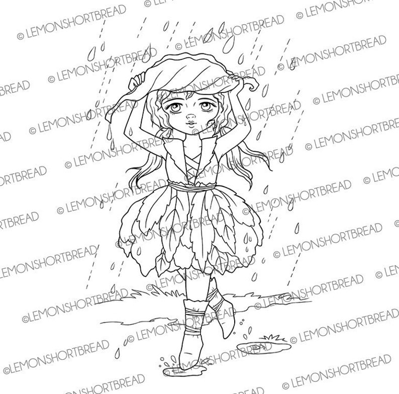 Digital Stamp Rain Shield Digi Fantasy Stampabile Pagina da image 0
