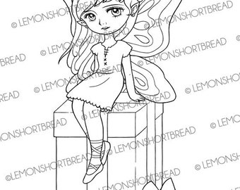 Digital Stamp Gift Box Fairy, Digi Download, Happy Birthday Presents, Fantasy, Coloring Page, Clip Art, Scrapbooking Supplies