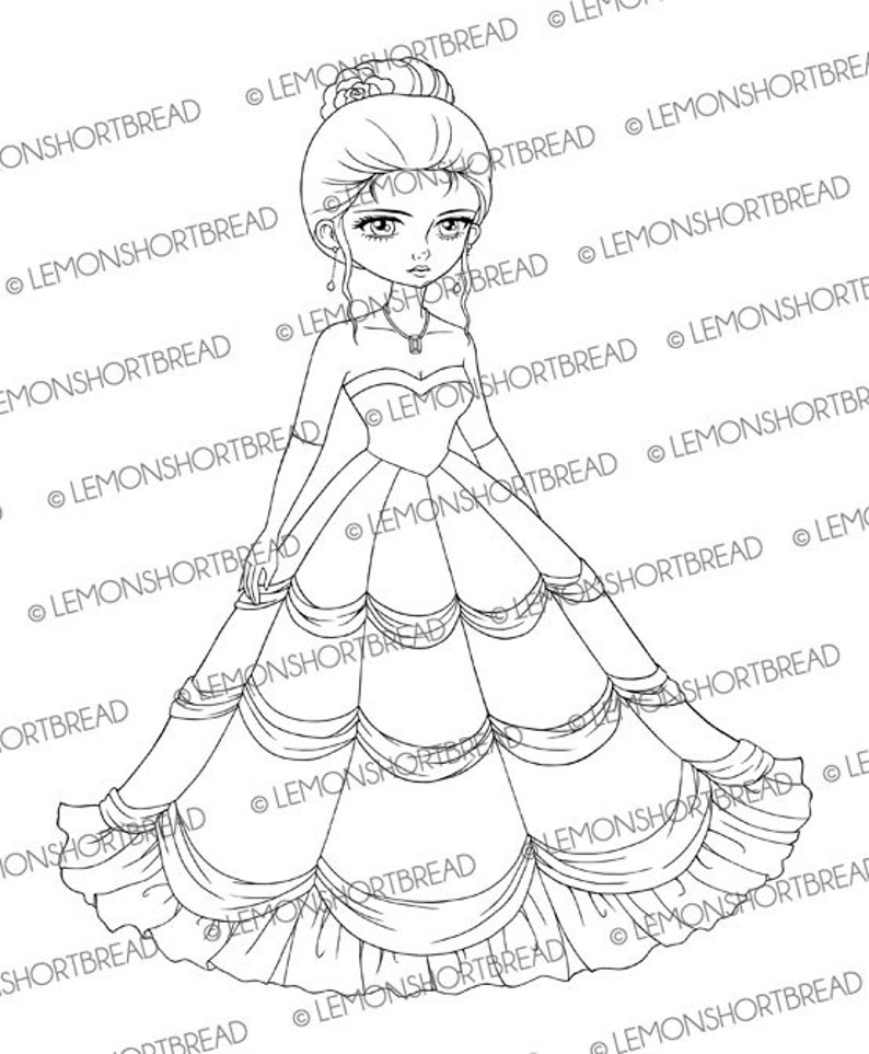 Coloriage Princesse Robe Mariee.Timbre Numerique Soiree Boule Robe Mariee Telecharger Digi Etsy