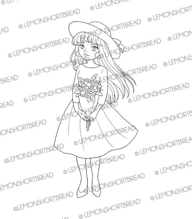 Digital Stamp Hat Bouquet Girl Digi Download Coloirng Page image 0