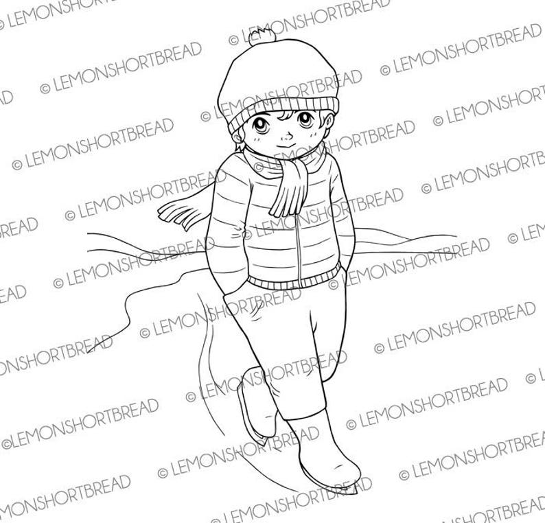 Digital Stamp Ice Skating Guy Digi Download Winter Boy image 0