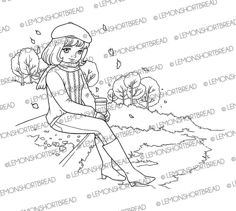 Digital Stamp Autumn Park Girl Digi Stamps Colouring Page image 0