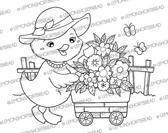 Digital Stamp Madame Duck Flowers, Digi Coloring Page Download, Spring Summer Gardening Garden, Floral Nursery