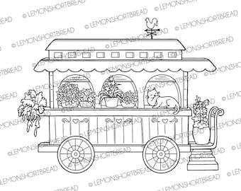 Digital Stamp Flower Caravan Cat, Digi Coloring Page Download, Spring Summer Gardening Garden, Floral Whimsical Art