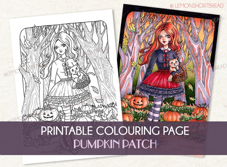 Printable Digital Colouring Page Pumpkin Patch Girl Instant image 0