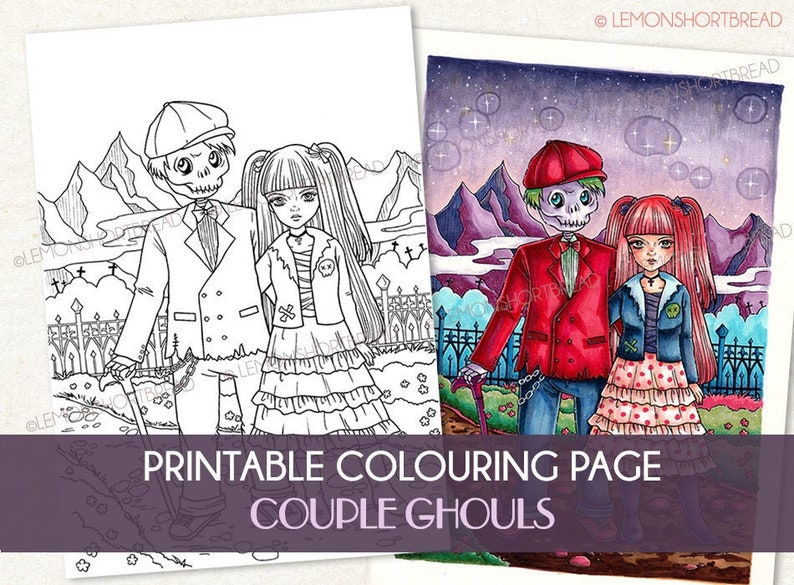 Printable Digital Colouring Page Couple Ghouls Instant image 0