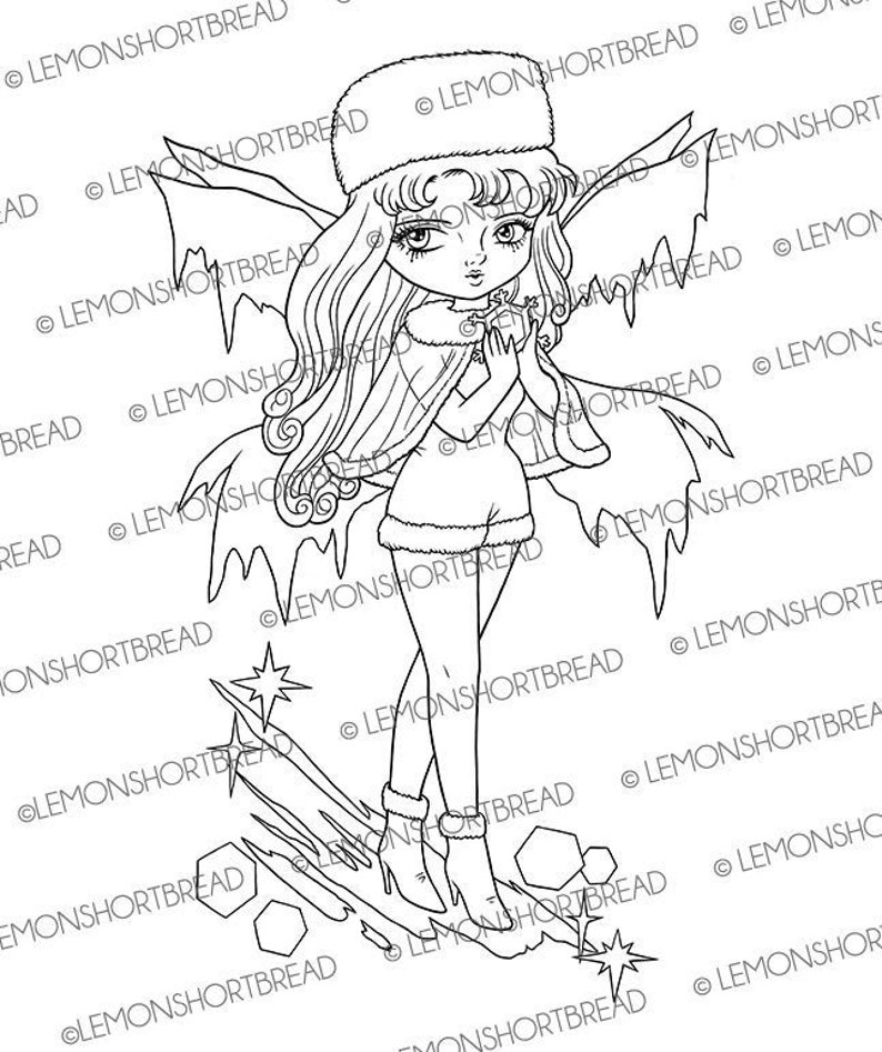 Digital Stamp Winter Frost Fairy Digi Stamps Colouring Page image 0